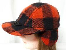 Vintage Hunting Cap Hat Red Buffalo Plaid Wool Cotton Lining Mackinaw Size 7 1/8