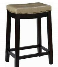 Home Décor Beige /Expresso Linon Claridge 26 In. Beige Cushioned Counter / Stool