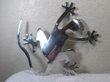 Unique silver aluminum lizard wall sculpture she is about 9.3 x 10