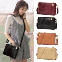 Women Fashion Handbag Crocodile Pattern Shoulder Bag Small PU Tote Ladies Purse