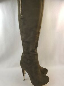 Luichiny Women's High Rise Boots, Army Green Size 6