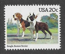 Dog Art Portrait Full Body Postage Stamp BEAGLE / BOSTON TERRIER USA 1984 MNH