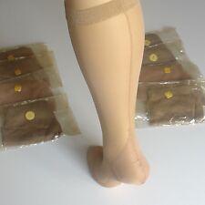 😍 Knee highs. Mi-bas voile couture beige talon cubain. Taille 4. Size 10.