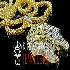 Yellow Gold Silver Egyptian Pharaoh King Tut Lab Diamond Pendant Franco Chain