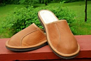 MENS CAMEL BROWN 100% LEATHER  SLIPPERS SCUFF SHOES ORTHOPEDIC SIZE 8 TO 13