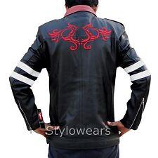 New Mens Smart Slim fit PROTOTYPE Alex Mercer Gaming Dragon Black Leather Jacket