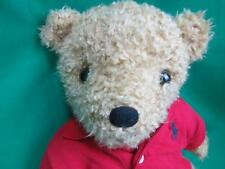 RALPH LAUREN RED POLO SHIRTS BROWN TEDDY BEAR SITS PLUSH STUFFED ANIMAL SHAGGY