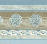 Blue Metallic Shiny Gold Flower Floral Rope Moulding Molding Wall paper Border