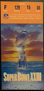 1989 NFL Football Super Bowl XXIII Vtg Ticket SF 49ers Beat Cincinnati Bengals