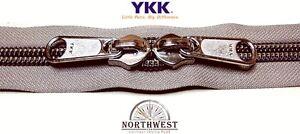 YKK Nylon Coil Zipper Tape # 10 Khaki 25 yards with 25 Nickle Zipper Sliders