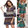 Fashion V-Neck Floral Mini Dress Summer 3/4 Flare Sleeve Bohemia Beach Sundress