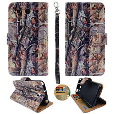 For LG Optimus G Pro E980 Wallet  S Leather Brown Camo RT Prl Case Cover Zn