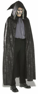 Black Suede Cape  Halloween Gothic hooded cloak Costume for Men