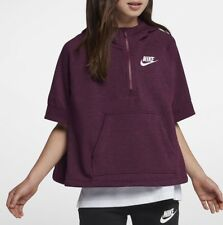 NIKE NSW Girls Sweatshirt Half-Zip Poncho 890250-609 Bordeaux Size S 8-10 Years