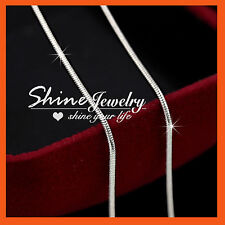 9K WHITE GOLD FILLED SILVER SNAKE CHAIN for pendant SOLID WOMEN MEN KID NECKLACE