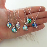 Retro Women Rainbow Mermaid Fish Scale Pendant Silver Plated Long Chain Necklace
