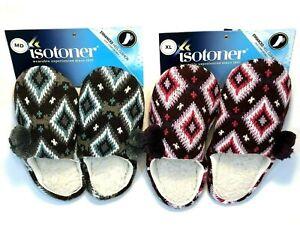 Women's ISOTONER Slippers M & XL Diamond Crochet Pattern ENHANCED HEEL CUSHION