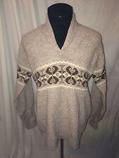 vtg 70s sears kings road acrylic winter christmas sweater brown mens xl