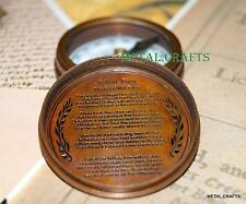 Vintage Brass Compass Pocket Watch Antique Pirates Engrave Poem Compass Lid Cap