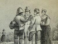 Ecole FRANCAISE XIX DESSIN PIERRE NOIRE PERSONNAGES MODE EMPIRE HOMME FEMME 1810
