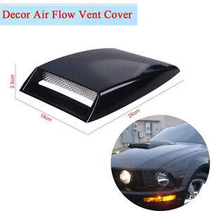 Black ABS 3D Air Flow Intake Vent Decor Sticker for Car SUV Engine Cover Hood