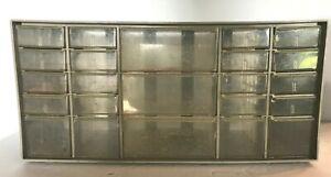 Vintage Akro Mills Small Parts Storage Cabinet Bin Organizer 23 Drawers