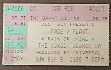 1998 Page & Plant Led Zeppelin The Gorge Washington rock concert ticket