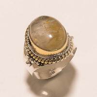 Vintage Fine Jewelry 925 Sterling Silver Brass Golden Rotile Ring