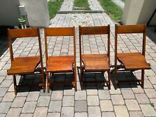 Snyder | Antique Vintage | Wooden Folding Camping Chairs | Oak Wood | Set of (4)