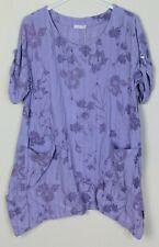 New Ladies Lagenlook Lightweight Split Sides Floral Cotton Linen Mix Tunic Top