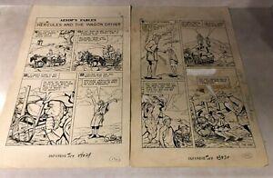 CLASSICS ILLUSTRATED JUNIOR #559 original art 2 PG STORY AESOP HERCULES 1959