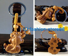 Hot! Beautiful Classical Carved Fish wooden key chain keyring (Lucky goldfis)