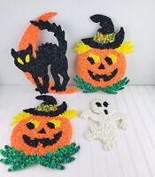 Vintage Melted Plastic Popcorn Halloween Decorations Cat Pumpkins Ghost Lot