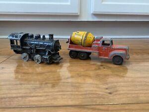 Vintage 1950 60s Tootsietoy Hubley Locomotive Cement Mixer Lot