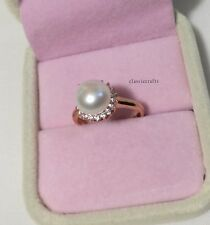 Genuine 9.9mm Freshwater pearl CZ 18K rose gold plated silver Ring adjustable