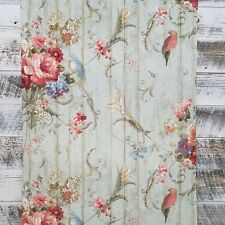York HA1326 Vintage Victorian Floral Bouquets Bird Rose Blue Parrot Wallpaper