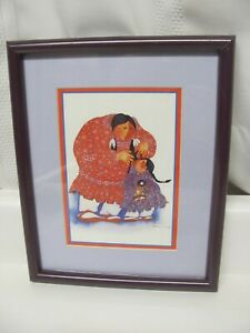 Vintage Barbara Lavallee Framed & Matted Print 1990 Alaska Native Art Watercolor