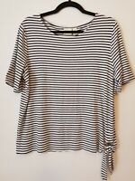 Chicos Womens Top Size 2 Black White Striped Side Tie Short Sleeve Blouse