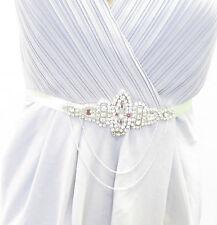 Silver Mint Green Diamante Belt Chain 1920s Dress Bridesmaid Flapper Vtg 1838