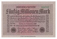 Alemania 50 Millones De Mark 1923 P-109a Billetes Unc