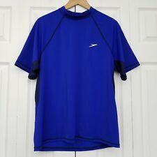 Speedo Mens Short Sleeve Rashguard Shirt Blue Large UV BLock