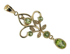 Genuine 9K Yellow Gold Natural Peridot Filigree Dangle Pendant Vintage style