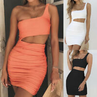 Fashion Cut Out Bandage One Shoulder Bodycon Sexy Sleeveless  Party Mini Dress