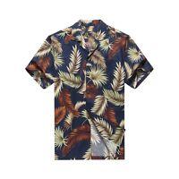 Made in Hawaii Men Aloha Shirt Luau Cruise Party Tropical Leaves Assorted Blue