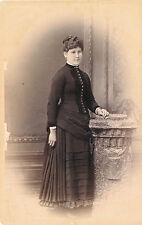 1880-89 Woman in Elaborately Pleated Dress Montgomery Lockport, NY Cabinet Photo