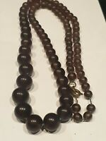 "Vintage Art Deco 20 Flapper Brown/Purple Glass Bead 24"" Choker/Necklace"