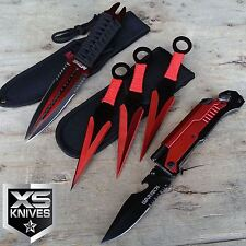 5Pc TACTICAL Red MULTI-FUNCTIONAL Dual Blade Dagger Pocket Knife Throwing Knives