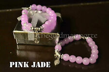 Elegant Pink Jade Rosary Bracelet