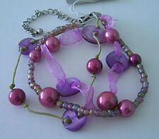 "Womens Fits Up To 9./2"" (237mm) Ext Long 1 New Bracelet Mauve Disc & Round Beads"