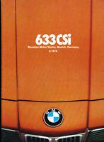 1978 BMW 633CSi 44-page Original Car Sales Brochure Catalog - Coupe